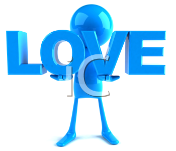 Royalty Free 3d Clipart Image of a Blue Guy Holding Large Letters that Spell Love