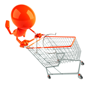 Royalty Free 3d Clipart Image of a Red Guy Pushing a Shopping Cart