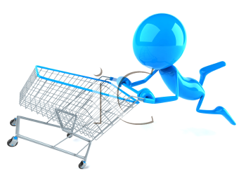Royalty Free 3d Clipart Image of a Blue Guy Pushing a Shopping Cart