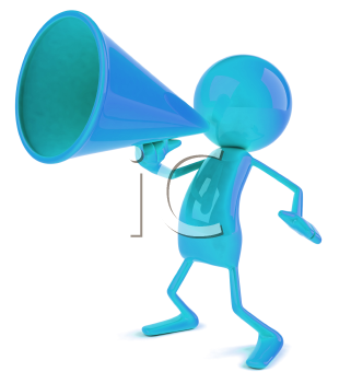Royalty Free 3d Clipart Image of a Blue Character Speaking into a Megaphone