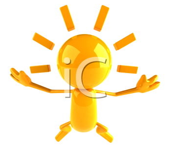 Royalty Free 3d Clipart Image of a Yellow Character Jumping in the Air