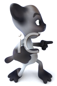 Royalty Free 3d Clipart Image of a Cat Dancing