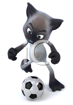 Royalty Free 3d Clipart Image of a Cat Kicking a Soccer Ball