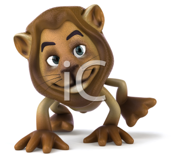 Royalty Free 3d Clipart Image of a Lion Walking on All Fours
