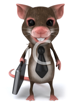 Royalty Free Clipart Image of a Mouse With a Briefcase and Wearing a Tie