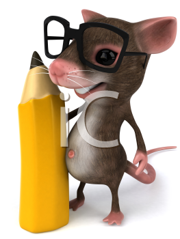 Royalty Free Clipart Image of a Mouse Wearing Glasses and Holding a Pencil