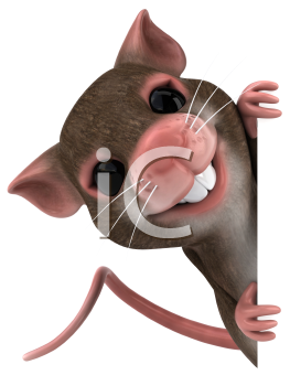 Royalty Free 3d Clipart Image of a Mouse Holding a Blank Sign Board