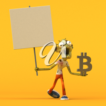 Zombie and bitcoin - 3D Illustration