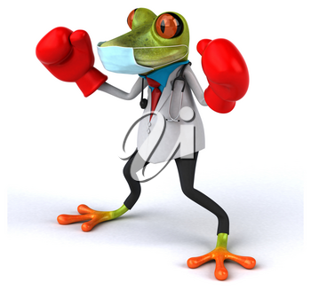 3D Illustration of a doctor frog with a mask