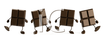 Royalty Free Clipart Image of a Group of Dancing Chocolate Pieces