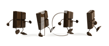Royalty Free Clipart Image of a Group of Chocolate Pieces Walking in a Row