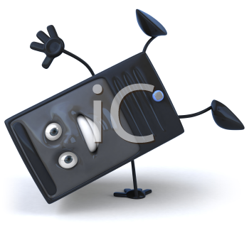Royalty Free 3d Clipart Image of a Computer Doing a Handstand