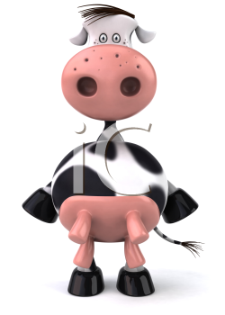Royalty Free Clipart Image of a Holstein Cow Standing on Two Legs