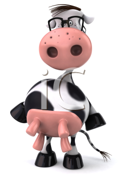 Royalty Free Clipart Image of a Standing Holstein Cow Wearing Glasses