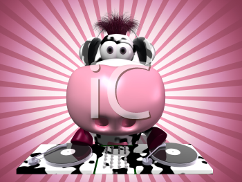 Royalty Free 3d Clipart Image of a Cow Operating a Turn Table