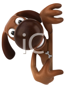 Royalty Free 3d Clipart Image of a Dog Pointing to a Sign Board
