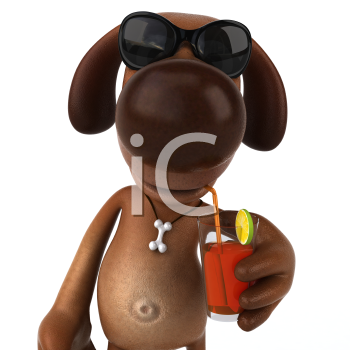 Royalty Free 3d Clipart Image of a Dog Wearing Sunglass and Sipping a Beverage