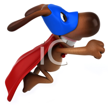 Royalty Free Clipart Image of a Superhero Dog