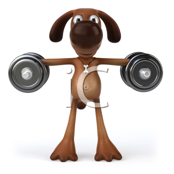 Royalty Free Clipart Image of a Dog Lifting Weights
