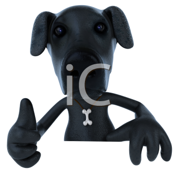 Royalty Free 3d Clipart Image of a Black Dog Giving a Thumbs Up Sign