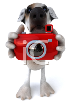 Royalty Free Clipart Image of a Jack Russell Taking a Pictures