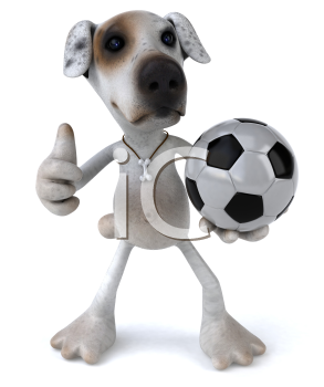 Royalty Free 3d Clipart Image of a Jack Russell Terrier Dog Holding a Soccer Ball