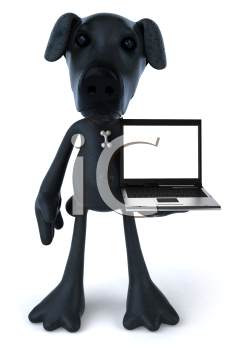 Royalty Free 3d Clipart Image of a Black Dog Holding a Laptop Computer