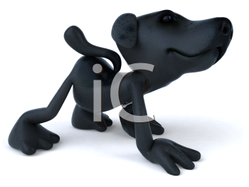 Royalty Free 3d Clipart Image of a Black Terrier Dog