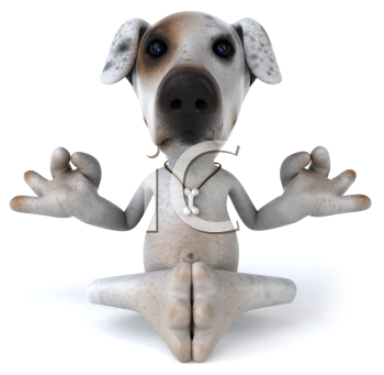 Royalty Free 3d Clipart Image of a Jack Russell Terrier Dog Meditating