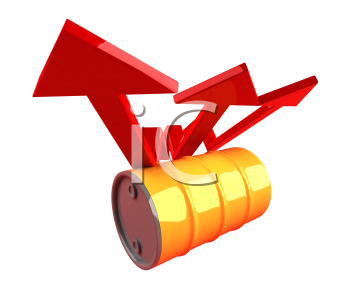 Royalty Free 3d Clipart Image of an Oil Barrel With an Arrow Pointing Upwards