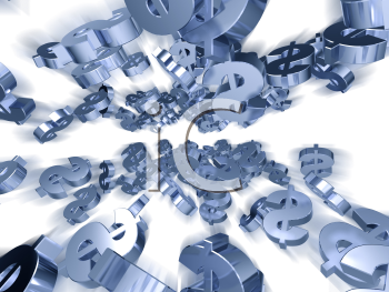 Royalty Free 3d Clipart Image of Floating Dollar Signs