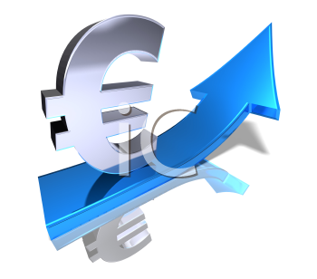 Royalty Free 3d Clipart Image of a Euro Sign with an Arrow Pointing Upwards