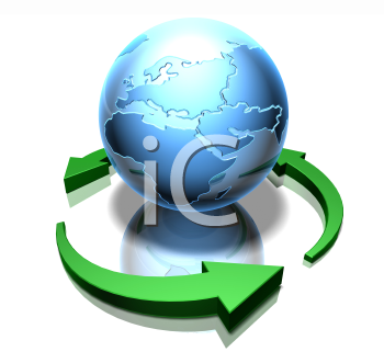 Royalty Free 3d Clipart Image of a Globe Surrounded by Green Arrows