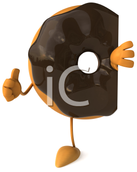 Royalty Free Clipart Image of a Doughnut Giving a Thumbs Up