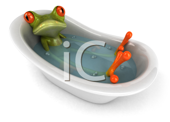Royalty Free Clipart Image of a Frog Soaking in a Tub