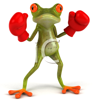 Royalty Free Clipart Image of a Frog in Boxing Gloves