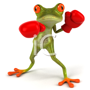 Royalty Free Clipart Image of a Frog Wearing Boxing Gloves