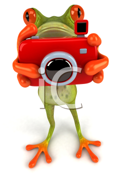 Royalty Free Clipart Image of a Frog With a Camera