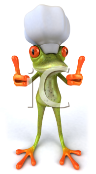 Royalty Free 3d Clipart Image of a Frog Wearing a Chef's Hat and Giving Two Thumbs Up Signs