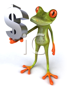 Royalty Free 3d Clipart Image of a Frog Holding a Dollar Sign