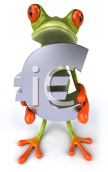 Royalty Free 3d Clipart Image of a Frog Holding a Euro Sign