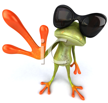 Royalty Free 3d Clipart Image of a Frog Wearing Sunglasses