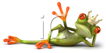Royalty Free 3d Clipart Image of a Frog Laying on its Side