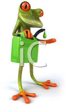 Royalty Free 3d Clipart Image of a Frog Holding a Gas Can