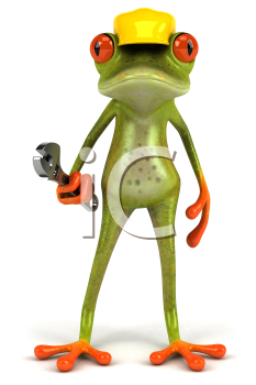 Royalty Free Clipart Image of a Frog Repairmen