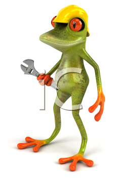 Royalty Free Clipart Image of a Frog in a Hardhat With a Wrench