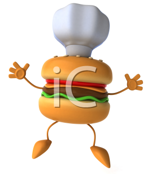 Royalty Free Clipart Image of a Hamburger Chef Jumping