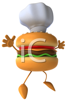 Royalty Free Clipart Image of a Burger Chef Jumping