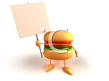 Royalty Free 3d Clipart Image of a Hamburger Holding a Blank Sign