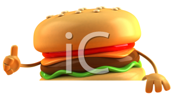 Royalty Free 3d Clipart Image of a Hamburger Holding a Sign Board and Giving a Thumbs Up Sign